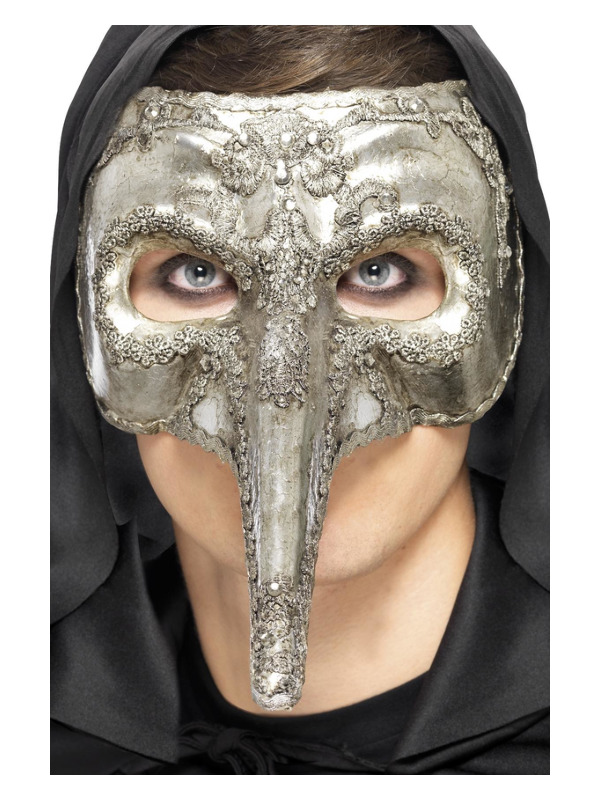 Luxury Venetian Capitano Mask, Silver