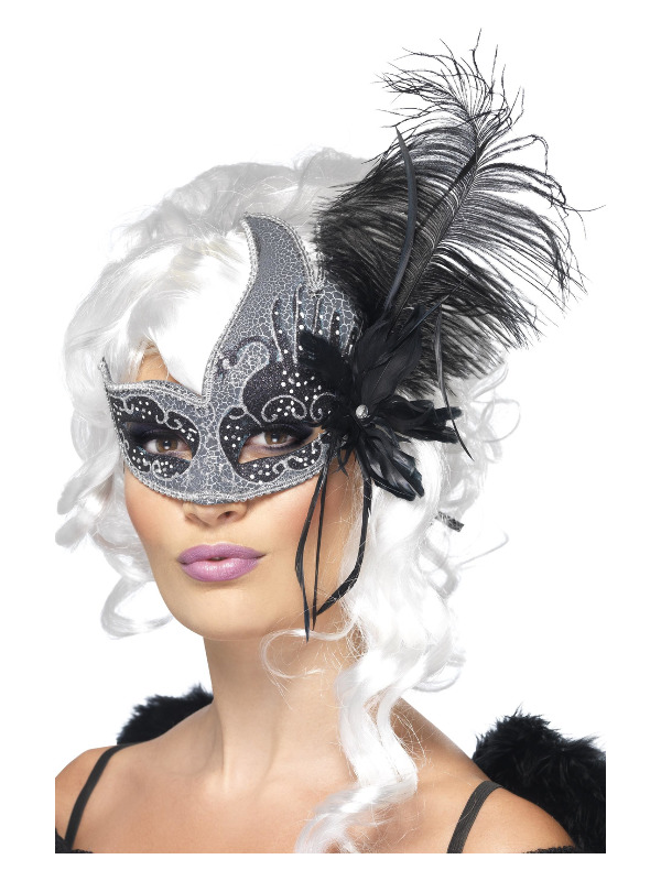 Masquerade Dark Angel Eyemask, Silver & Black, with Tie Sides & Feathers