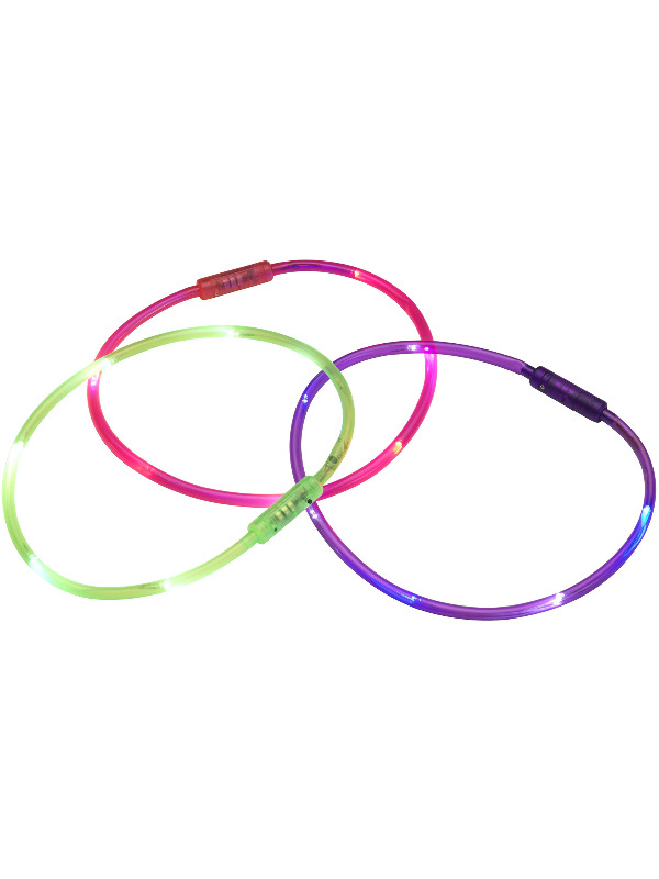 Necklace, Neon Colours, Assorted Colours, 6 LED, Multi Function