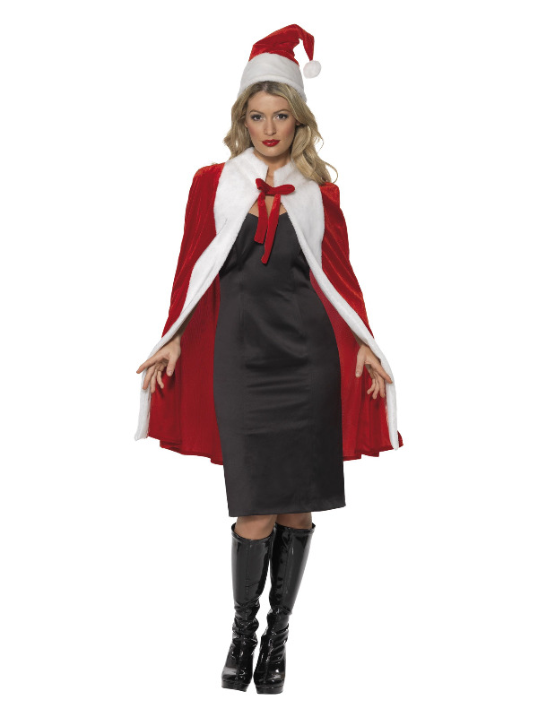 Deluxe Santa Kit, Red, with Cape & Hat