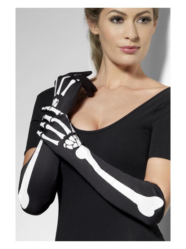 Skeleton Gloves, Black, Long