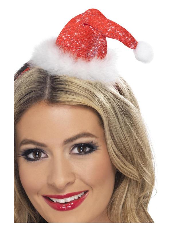 Mini Santa Hat, Red, on a Headband
