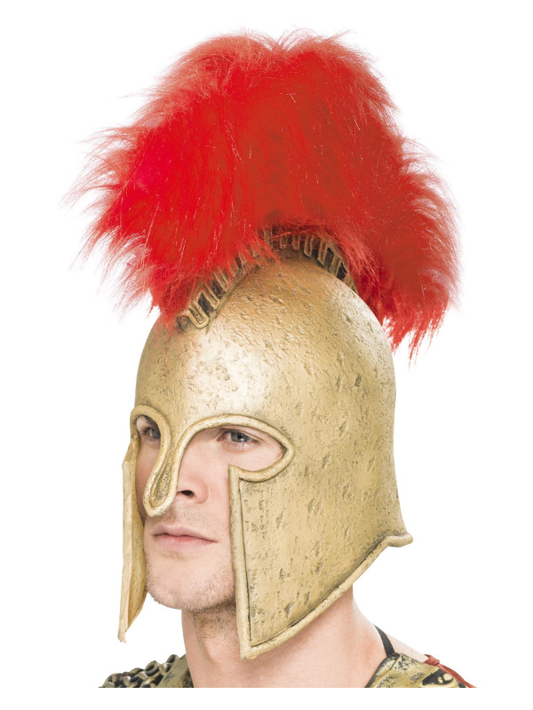 Roman Armour Helmet, Gold, with Large Plume, Deluxe, Latex