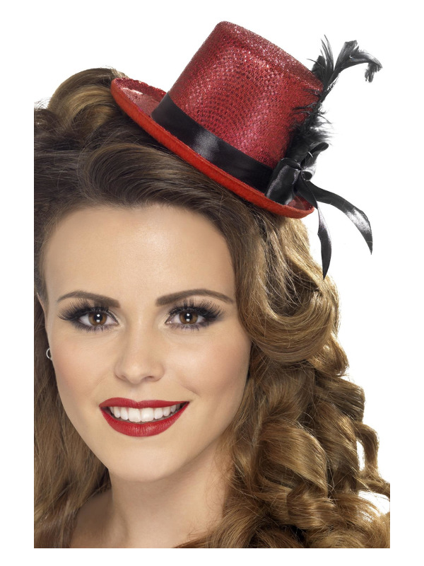 Mini Tophat, Red, with Black Ribbon and Feather