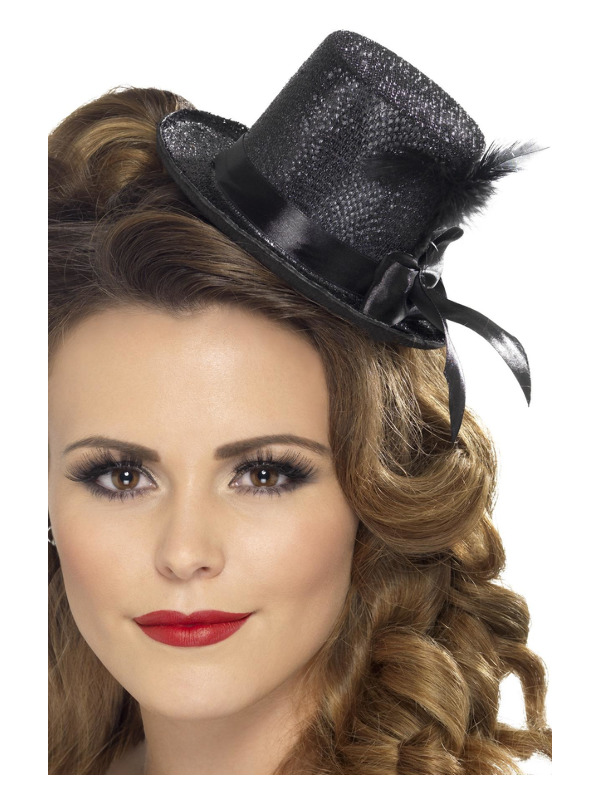 Mini Tophat, Black, with Black Ribbon and Feather