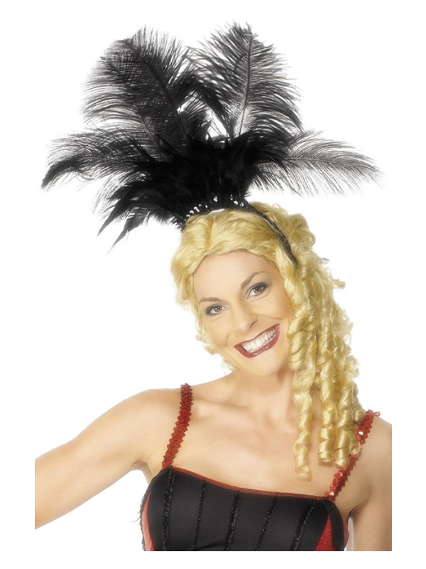 Can Can Girl Headpiece, Black, with Feathers