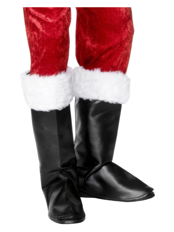 Santa Boot Covers, Black, with Fur