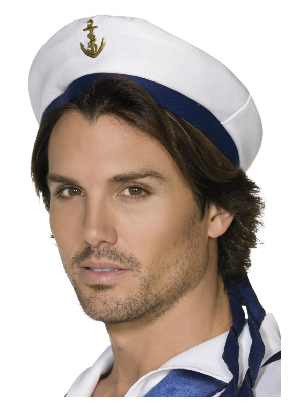 Sailor Hat, White, with Blue Band and Gold Anchor