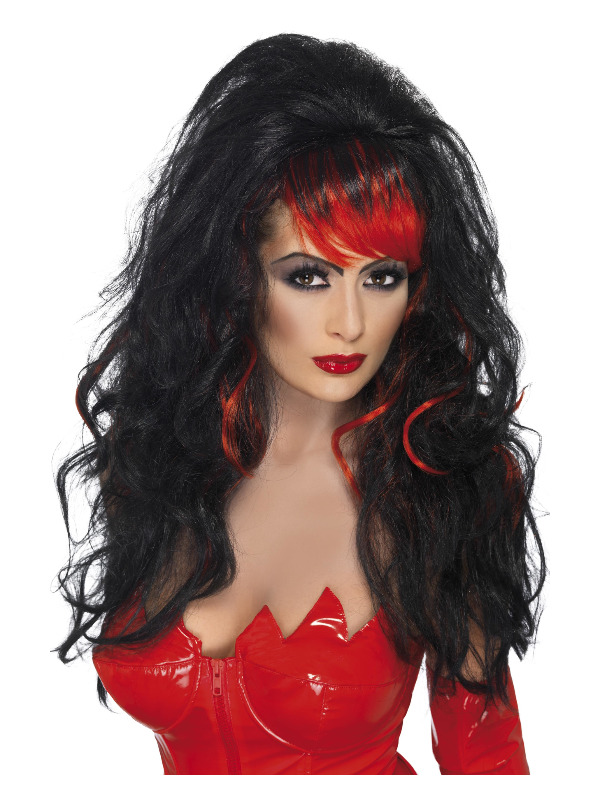 Seductress Wig, Black, Long with Streaks