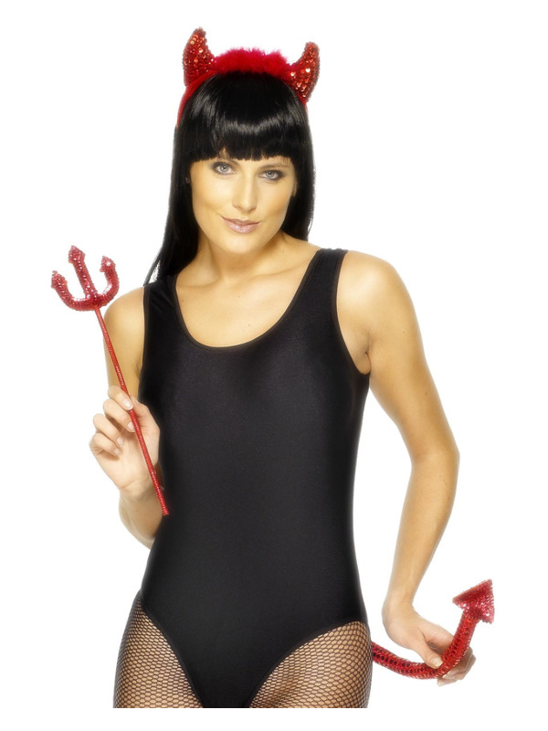 Sequinned Devil Instant Set, Red, with Marabou Headband, Tail & Trident