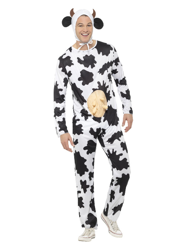 Cow Costume, Black & White, includes Jumpsuit with Udders and Headpiece