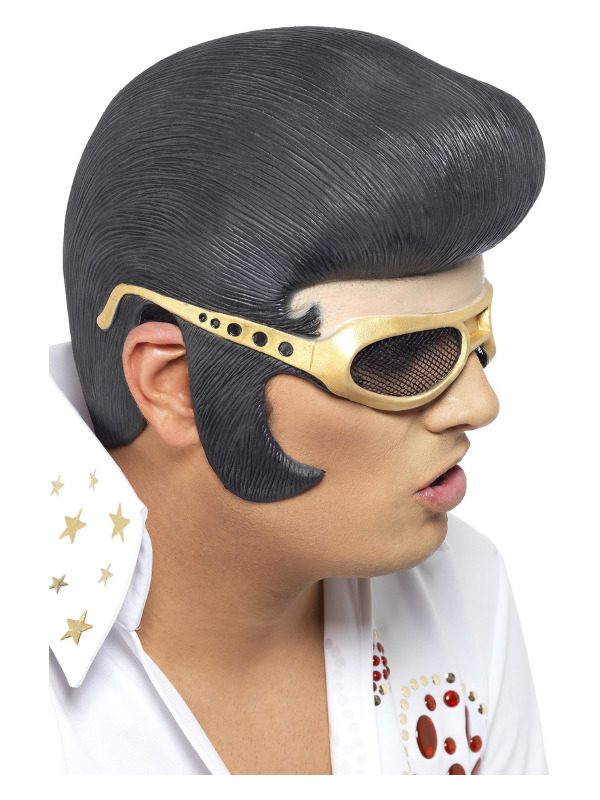 Elvis Headpiece, Black, with Hair & Gold Shades