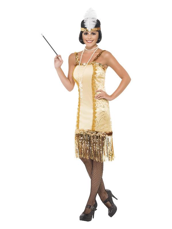 Charleston Flapper Costume, Gold