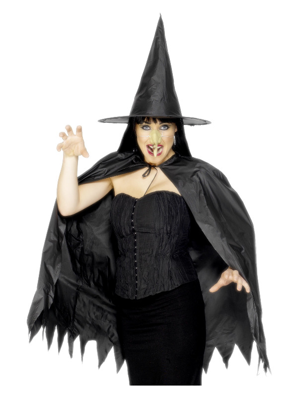 Witch Instant Set, Black, with Cape, Hat and Nose