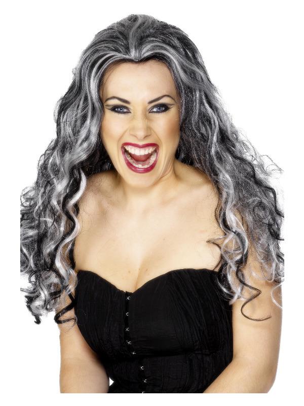Renaissance Vamp Wig, Black & White, Long & Curly