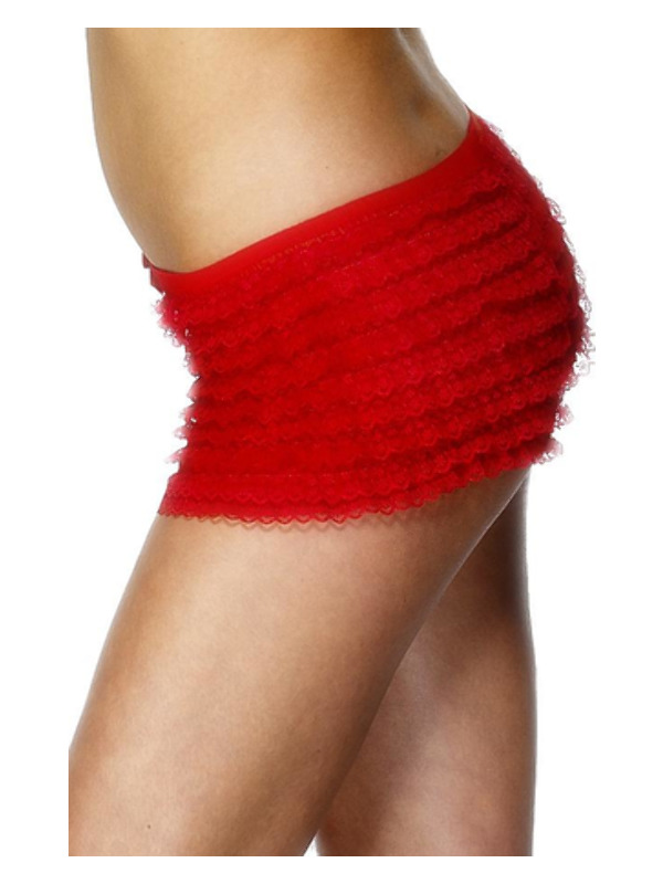 Ruffled Panties, Red, with Lace
