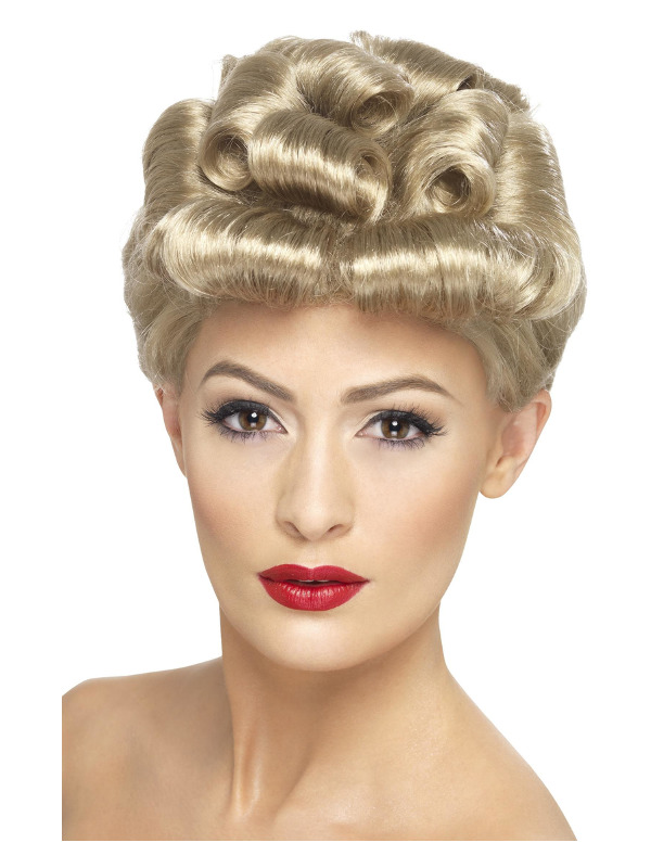 40s Vintage Wig, Blonde, with Curls