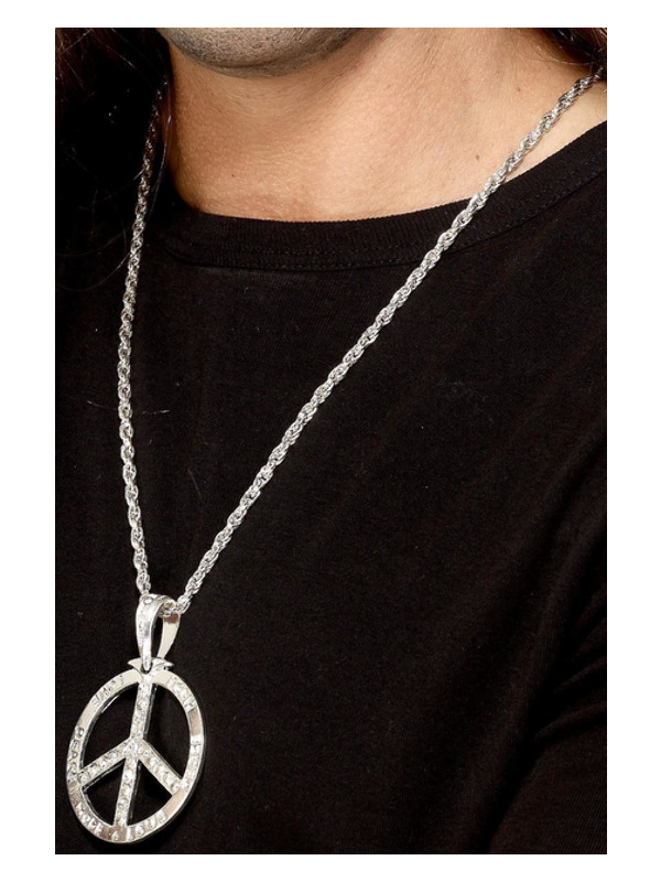 '60s Peace Sign Hippie Medallion, Silver, with 44cm Chain
