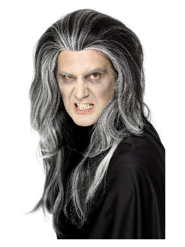 Gothic Vampire Wig, Black, Long with White Highlights