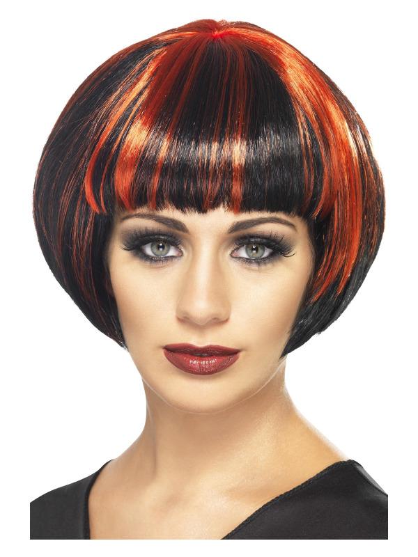 Quirky Bob Wig, Black, with Red Streaks