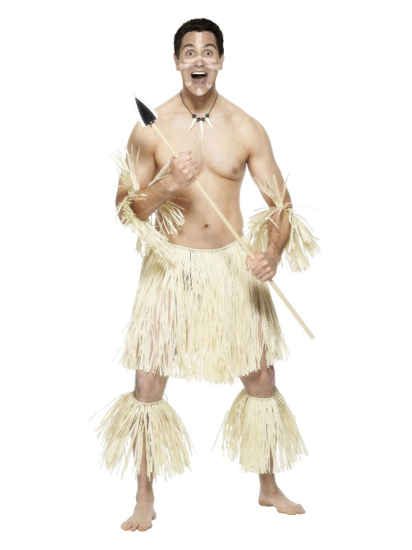 Zulu Warrior Costume, Cream, with Skirt, Anklets and Wristbands, Straw