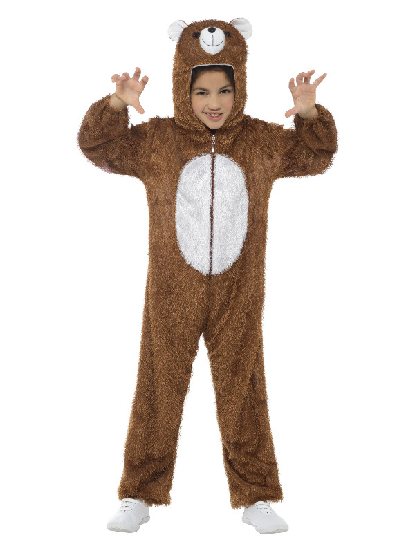 Bear Costume, Brown, with Hooded Jumpsuit