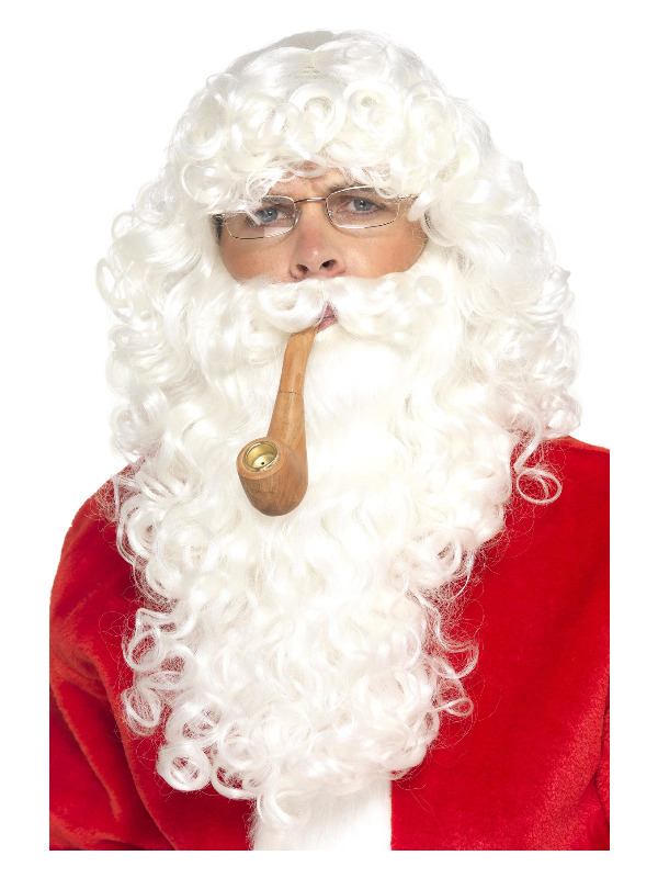Santa Dress Up Kit, White, with Wig, Beard, Glasses & Pipe, Deluxe