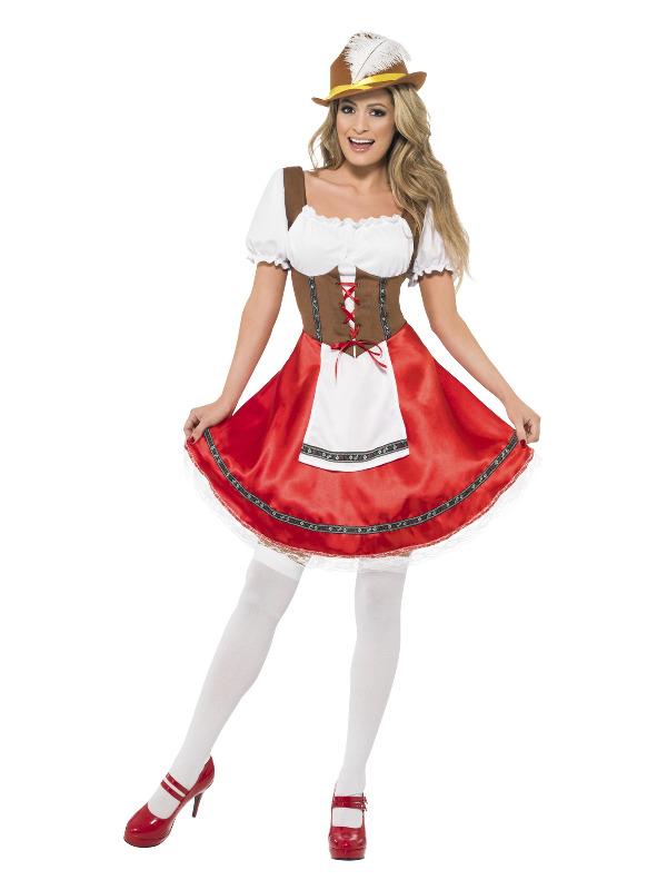 Bavarian Wench Costume, White & Red