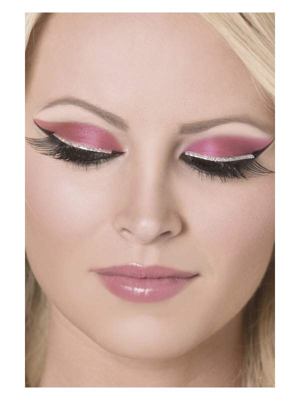 Eyelashes, Black, with Silver Glitter, Contains Glue