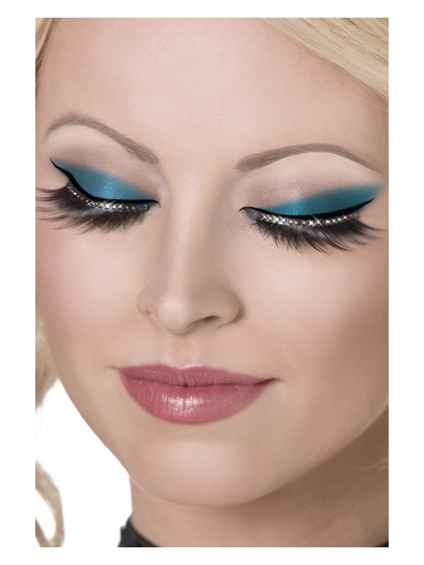 Eyelashes, Black, with Crystals, Contains Glue