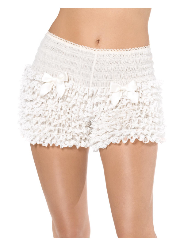 Fever Deluxe Pantaloons, White, Ruffled with Bows
