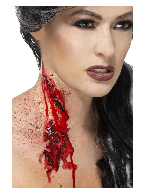 Smiffys Make-Up FX, Slash Throat Latex Scar, Red, with Blood, Self Adhesive