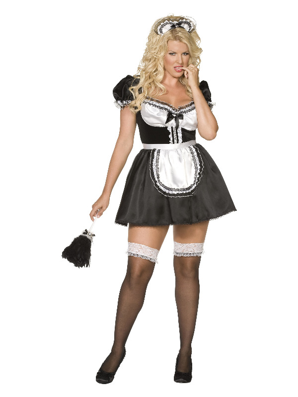Curves French Maid Costume, Black, with Dress, Apron and Headband