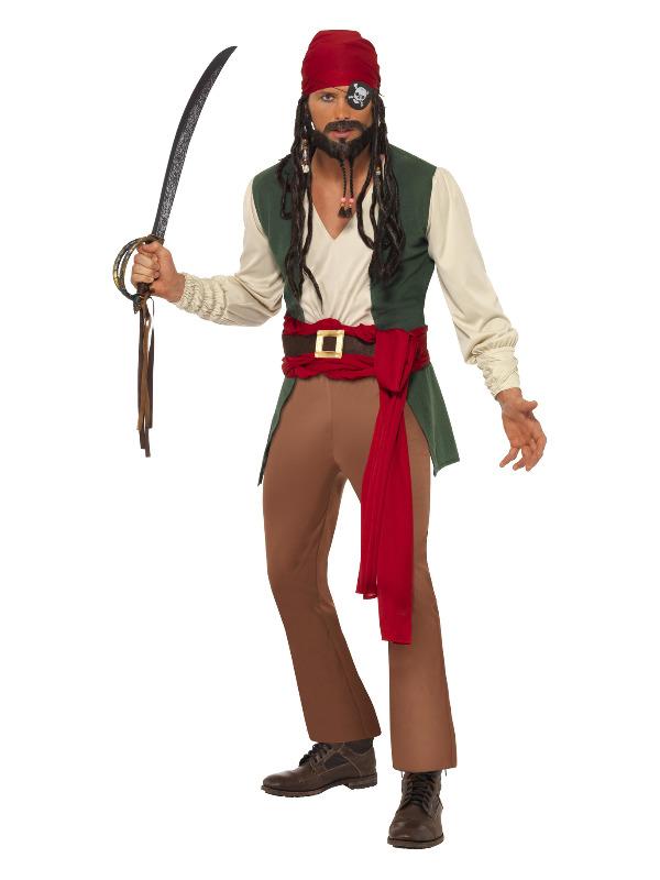 Caribbean Drunken Pirate Costume, Green