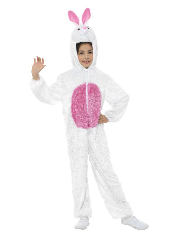 Bunny Costume, White, with Hooded Jumpsuit