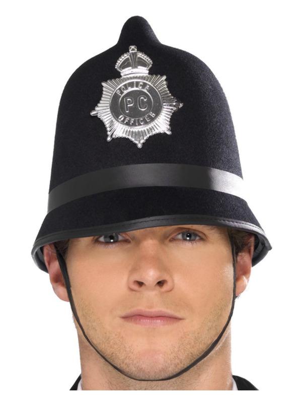 Police Hat, Black, with Badge, Felt