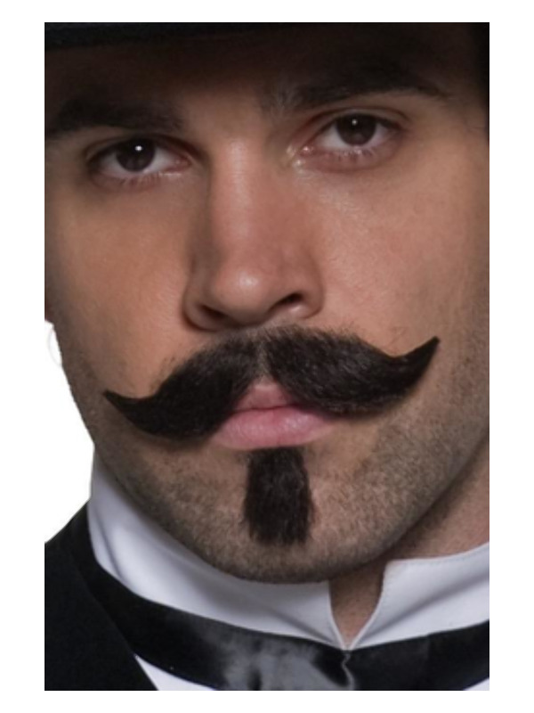 Authentic Western Gambler Moustache, Brown, Curled Tash and Small Beard, Self-Adhesive