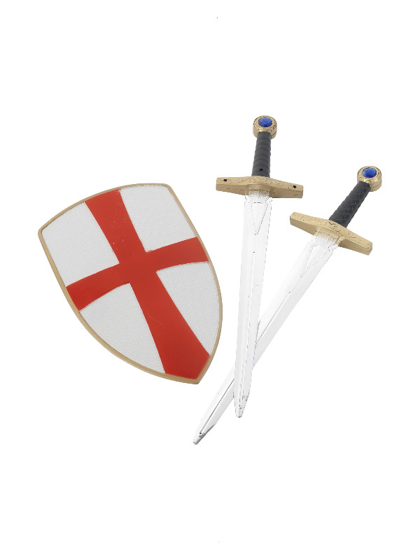 Knight Crusader Set, White, with Two Swords & Shield, 50cm/ 20in