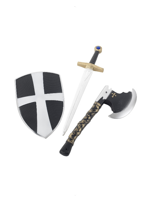 3 Piece Crusader Set, White, with Shield, Sword & Axe, 50cm / 20in