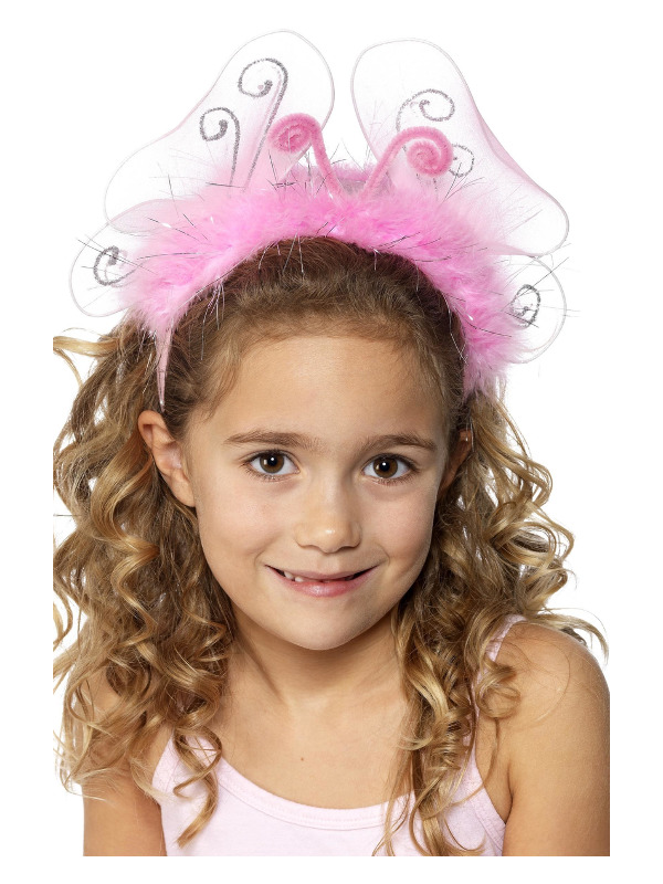 Girl's Flashing Headband, Pink, with Butterfly Wings, Marabou and Tinsel