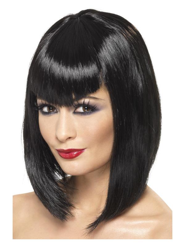 Vamp Wig, Black, Short with Fringe