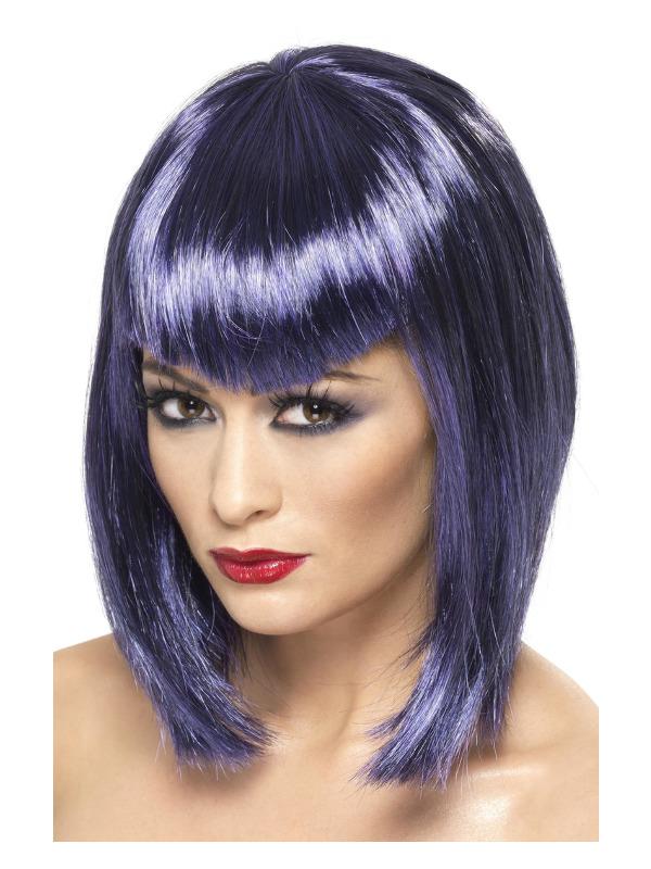 Vamp Wig, Purple, Short with Fringe