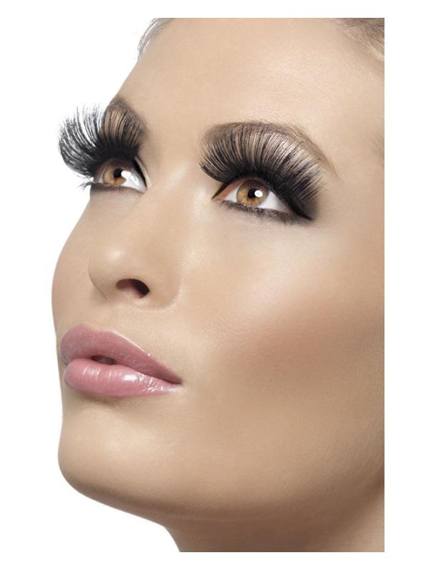 Eyelashes, Black, 60s Style, Long, Contains Glue