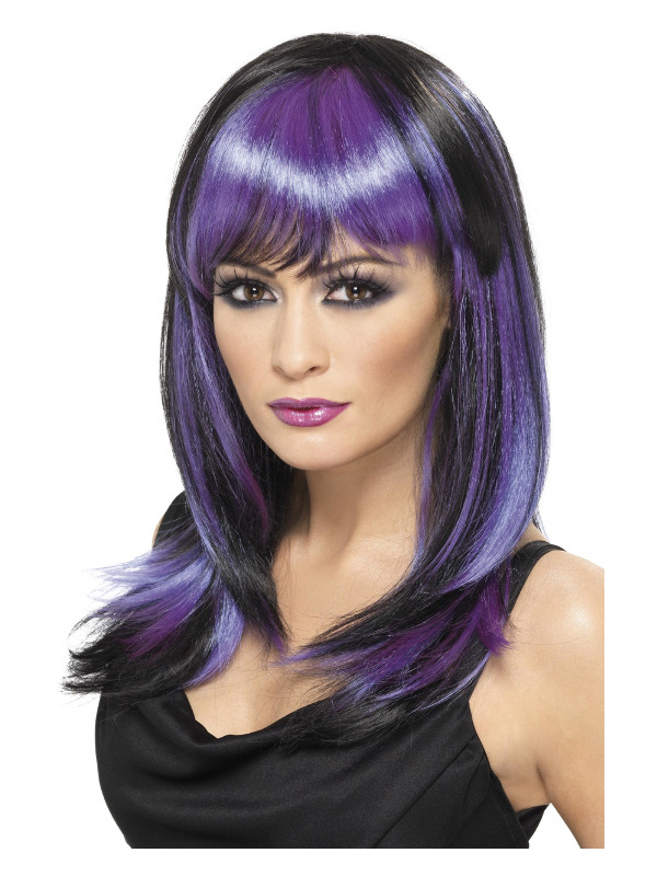 Glamour Witch Wig, Black & Purple, Long with Fringe