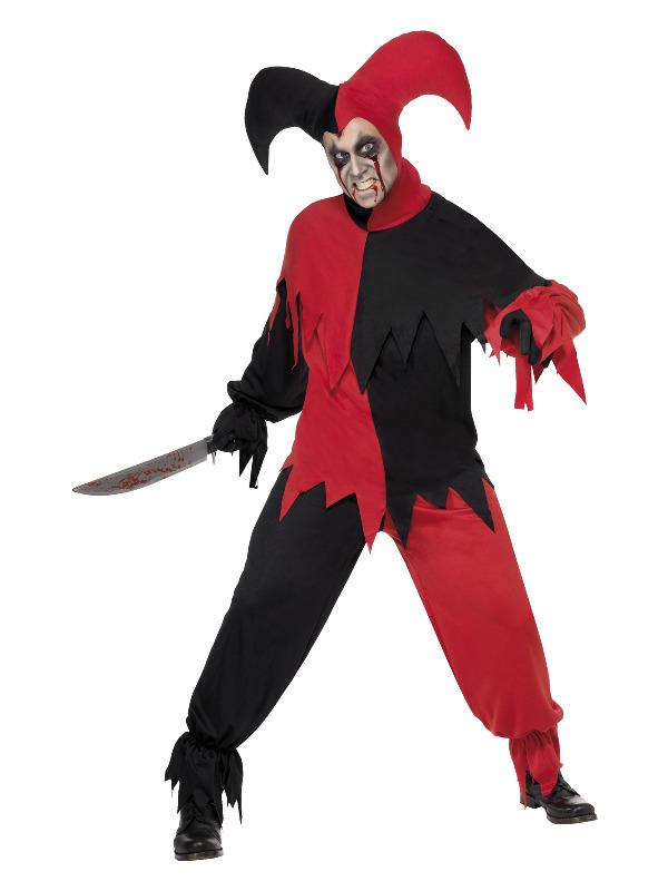 Dark Jester Costume, Red & Black
