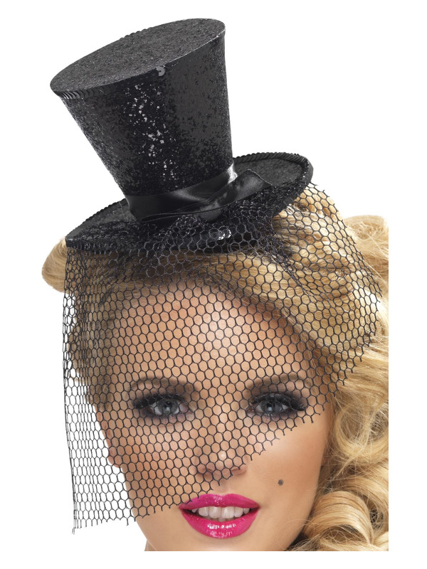 Fever Mini Top Hat on Headband, Black, with Detachable Netting