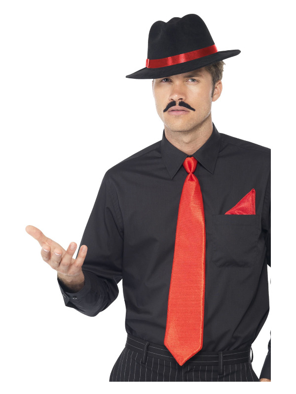 Gangster Kit, Red, with Trilby, Tie & Handkerchief