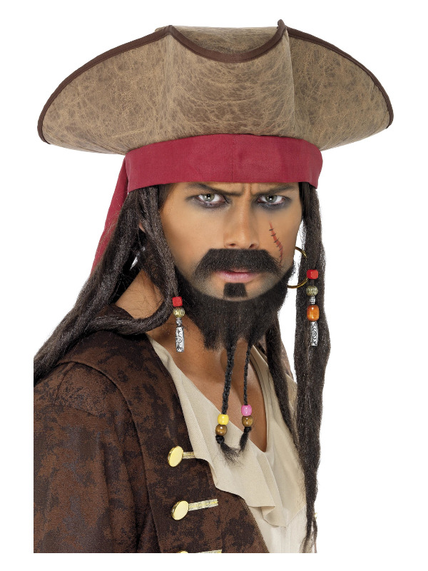 Pirate Hat, Brown, with Hair Dreadlocks
