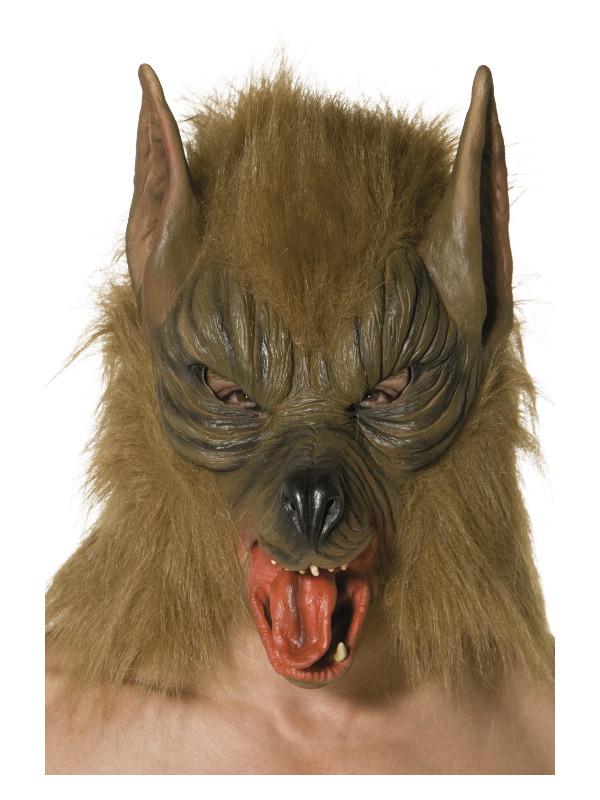 Wolf Mask, Brown, Overhead, Latex