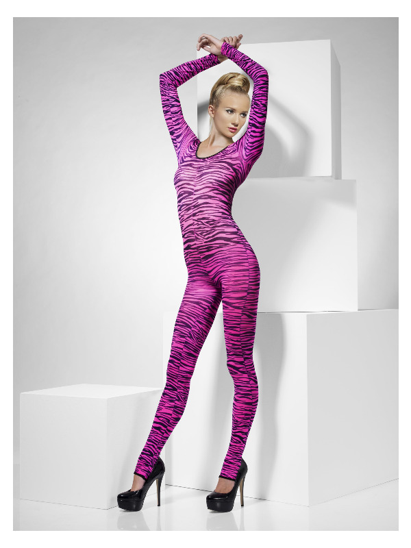Zebra Print Bodysuit, Pink